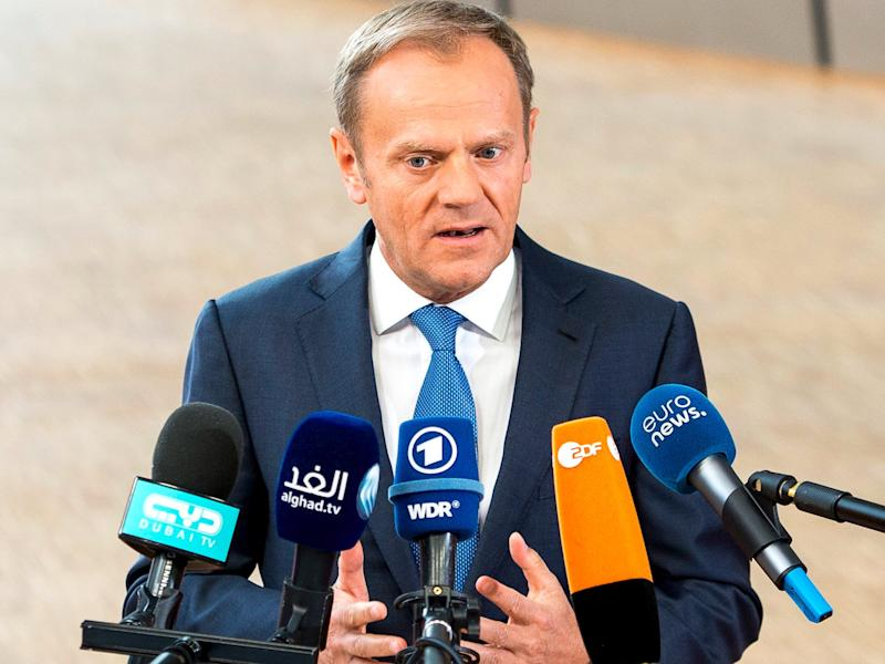 Donald Tusk , the president of the European Council talks to the press prior to the European Summit on Art. 50 , Brexit at European Council headquarters in Brussels, Belgium on 29.04.2017