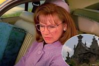 """<p>Welch divulged a movie magic cheat that occurs early in the film: The first look at the Inventor's Gothic mansion, seen from Peg Bogg's (Dianne Wiest's) rearview mirror, is a model replica. """"I love that shot because it's in-camera, it's simple, and improvised in what today would be an elaborate blue-screen comp and a digital model.""""</p>"""