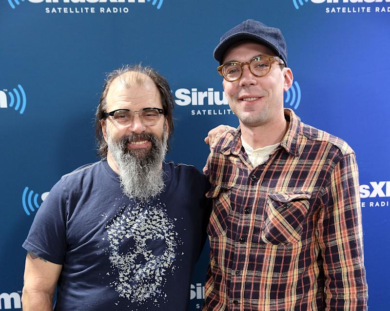 NEW YORK, NY - APRIL 18: SiriusXM Host Steve Earle and Justin Townes Earle on 'Steve Earle: Hardcore Troubadour Radio' on SiriusXM's Outlaw Country at SiriusXM Studios on April 18, 2017 in New York City. (Photo by Robin Marchant/Getty Images)
