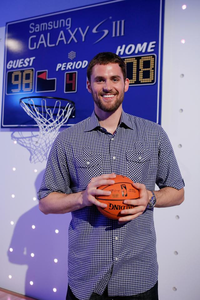NEW YORK, NY - JUNE 20:  Current NBA star Kevin Love showcases the next best thing, at the Samsung Galaxy S III launch day at Skylight Studios in NY on June 20, 2012 in New York City.  (Photo by Jemal Countess/Getty Images)