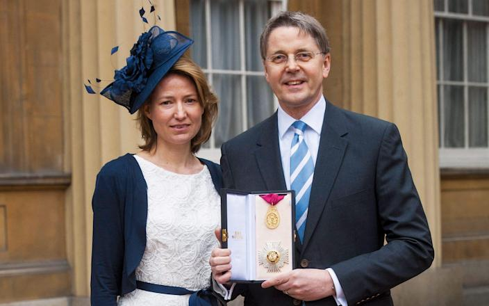 Jeremy and Suzanne Heywood on the day Jeremy was made a Knight Commander of the Order of the Bath, 2012 - Camera Press/Rota