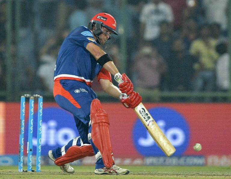 <p>Delhi Daredevils Corey Anderson plays a shot during the 2017 Indian Premier League (IPL) Twenty20 cricket match between Delhi Daredevils and Sunrisers Hyderabad at The Feroz Shah Kotla Cricket Stadium in New Delhi on May 2, 2017. ——IMAGE RESTRICTED TO EDITORIAL USE – STRICTLY NO COMMERCIAL USE—– / GETTYOUT—— / AFP PHOTO / CHANDAN KHANNA / —-IMAGE RESTRICTED TO EDITORIAL USE – STRICTLY NO COMMERCIAL USE—– / GETTYOUT </p>