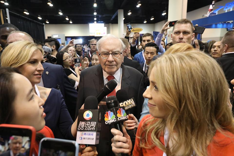 "OMAHA, May 4, 2019 -- Warren Buffett C, chairman and CEO of Berkshire Hathaway, speaks to reporters during the company's annual shareholders meeting in Omaha, the United States on May 4, 2019. U.S. legendary investor Warren Buffett said on Saturday it is not ""inconceivable"" for his Berkshire Hathaway Inc. to further partner with 3G Capital, which manages packaged food giant Kraft Heinz that has faced federal investigation into alleged procurement mishandlings. (Xinhua/Yang Chenglin) (Xinhua/ via Getty Images)"