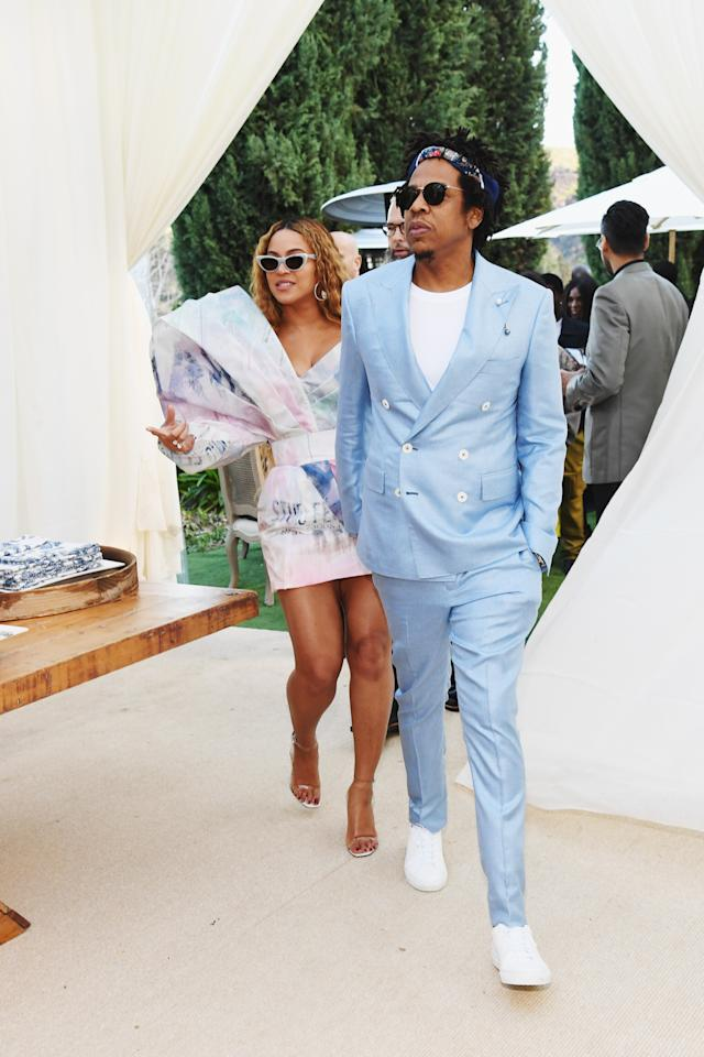 Beyoncé and Jay-Z attend 2019 Roc Nation THE BRUNCH on February 9, 2019 in Los Angeles, California.  (Photo by Kevin Mazur/Getty Images for Roc Nation )