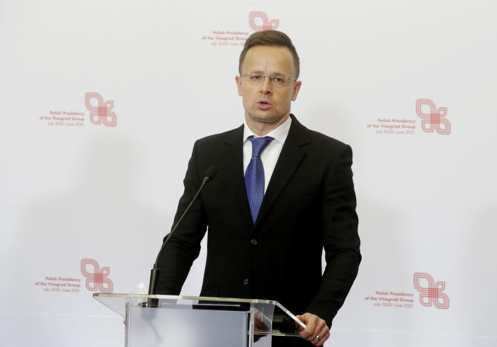 Hungarian Foreign Minister Peter Szijjarto attends a press conference after the foreign ministers of the Visegrad Group ,V4, in Lodz, Poland, Friday, May 14, 2021. (AP Photo/Czarek Sokolowski)