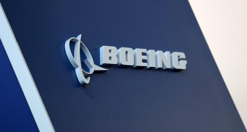 The Boeing logo is pictured at the LABACE fair in Sao Paulo