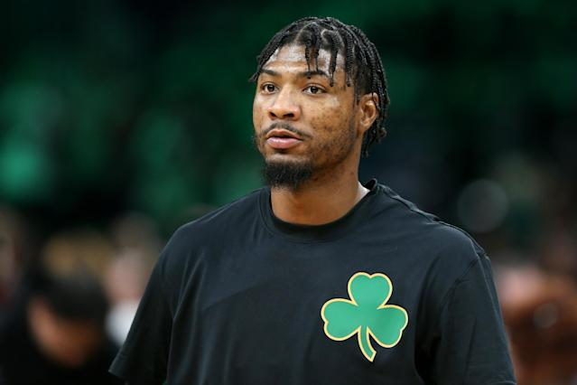 Marcus Smart doesn't sound any closer to returning to the court while dealing with an infection in both eyes. (Maddie Meyer/Getty Images)