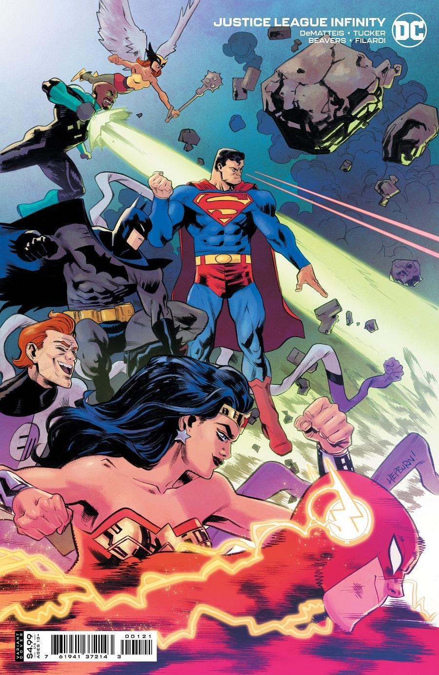 The variant cover for Justice League Infinity shows the team joined by the Elongated Man.