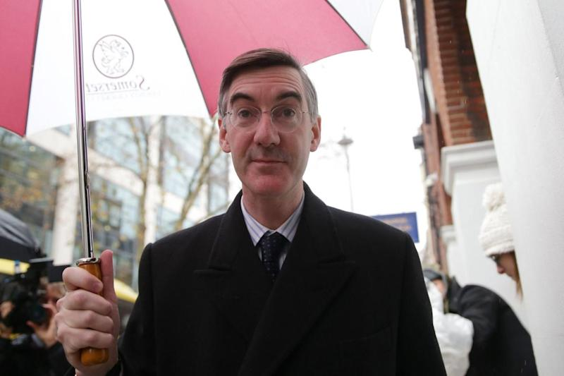 Mr Rees-Mogg arrives to chair an pro-Brexit ERG event in central London (AFP/Getty Images)