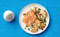 "<p>This hearty fish dinner is super filling and ready in no time.</p><p><a href=""https://www.womansday.com/food-recipes/food-drinks/recipes/a53278/seared-salmon-with-roasted-cauliflower/"" rel=""nofollow noopener"" target=""_blank"" data-ylk=""slk:Get the Seared Salmon with Roasted Cauliflower recipe."" class=""link rapid-noclick-resp""><em><strong>Get the Seared Salmon with Roasted Cauliflower recipe.</strong></em></a></p>"