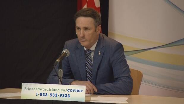 P.E.I. Minister of Fisheries and Communities Jamie Fox announced mental health supports for people working in the fisheries and aquaculture industries on Tuesday. (Ken Linton/CBC - image credit)