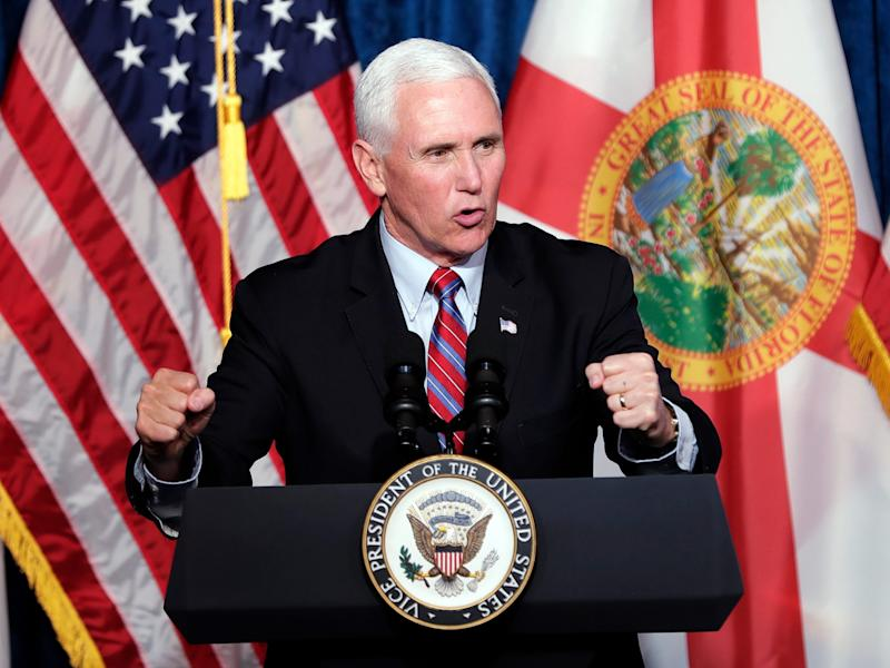 Vice President Mike Pence delivers remarks during a campaign event Thursday, Jan. 16, 2020, in Kissimmee, Fla. (AP Photo/John Raoux)