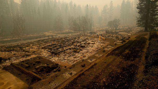 PHOTO: Leveled residences line a mobile home park on Edgewood Lane after the Camp Fire burned through Paradise, Calif., on Nov. 10, 2018. (Noah Berger/AP)