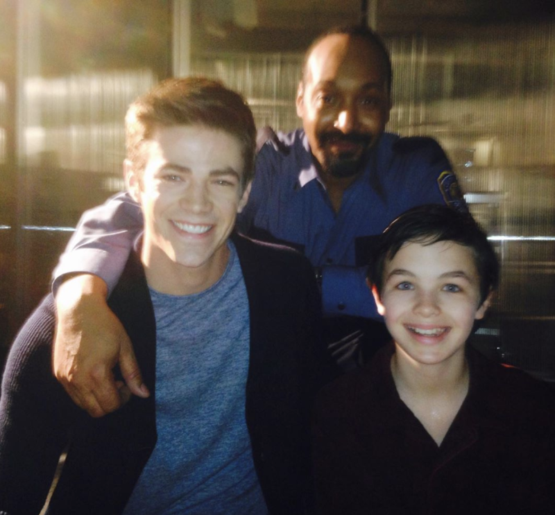 Logan Williams (front right) pictured with his co-stars from the set of The Flash.