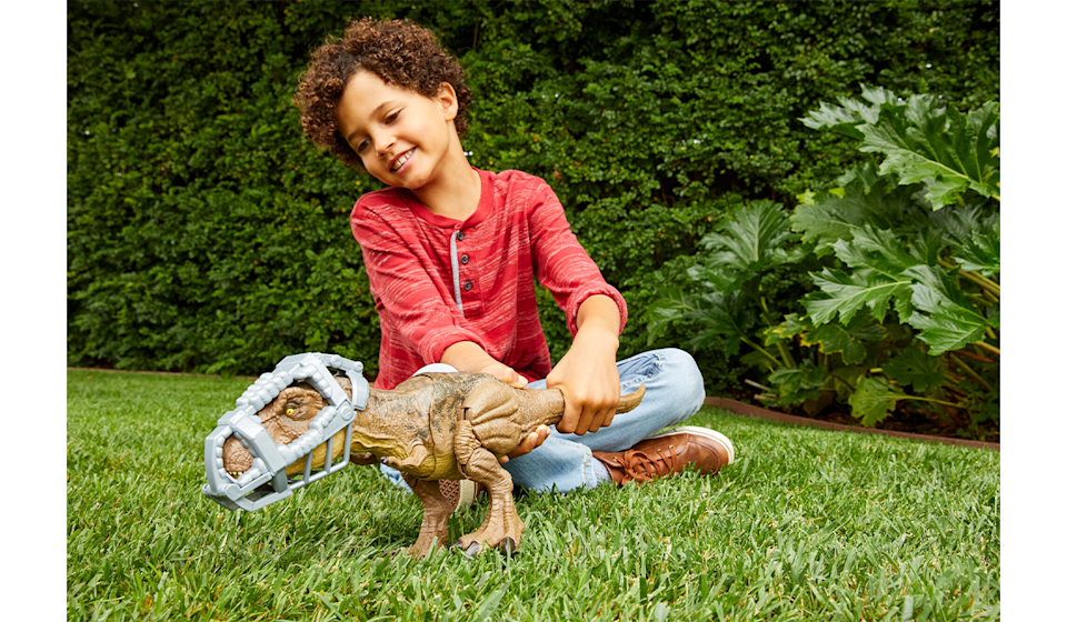 This super-detailed Jurassic World T-Rex stomps, chomps and roars. (Photo: Walmart)
