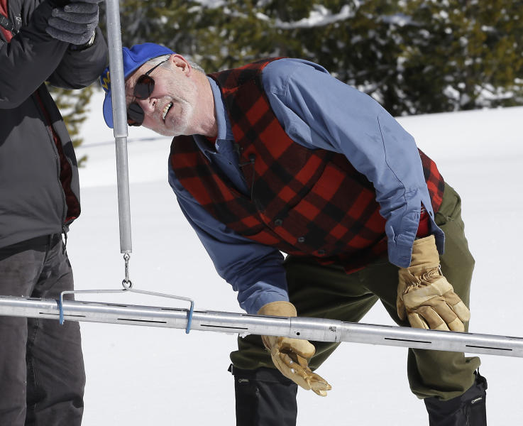 Frank Gehrke, right, chief of the California Cooperative Snow Surveys Program for the Department of Water Resources, checks the weight of the snowpack on a scale held by Armando Quintero, chairman of the California Water Commission during the third manual snow survey of the season at Phillips Station, Wednesday, March 1, 2017, near Echo Summit, Calif. The survey showed the snowpack at 179 percent of normal for this location at this time of year.The state's electronic snow monitors say the Sierra Nevada snowpack is at 185 percent of normal. (AP Photo/Rich Pedroncelli)