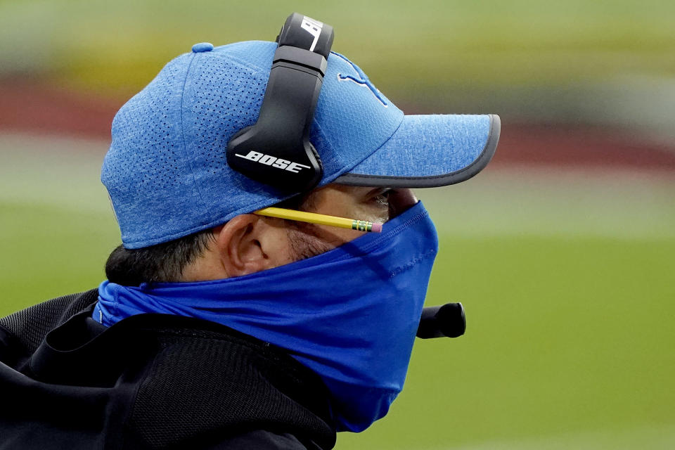 Detroit Lions head coach Matt Patricia watches during the first half of an NFL football game against the Arizona Cardinals, Sunday, Sept. 27, 2020, in Glendale, Ariz. (AP Photo/Rick Scuteri)