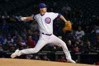 Chicago Cubs starting pitcher Alec Mills delivers during the first inning of a baseball game against the Minnesota Twins Tuesday, Sept. 21, 2021, in Chicago. (AP Photo/Charles Rex Arbogast)