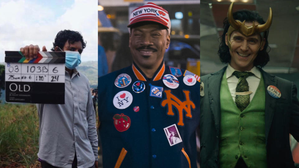 M. Night Shayamalan's 'Old', 'Coming 2 America' and 'Loki'. (Credit: M. Night Shyamalan/Twitter/Amazon/Marvel/Disney)