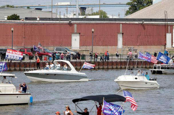 PHOTO: Supporters of President Donald Trump participate in a boat parade on Sunday, Sept. 13, 2020, along the Fox River in Green Bay, Wisc. (Ebony Cox/Green Bay Press-Gazette via USA Today Network)