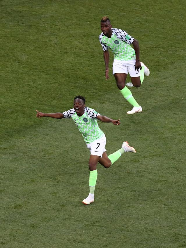 Soccer Football - World Cup - Group D - Nigeria vs Iceland - Volgograd Arena, Volgograd, Russia - June 22, 2018 Nigeria's Ahmed Musa celebrates scoring their second goal REUTERS/Sergio Perez TPX IMAGES OF THE DAY