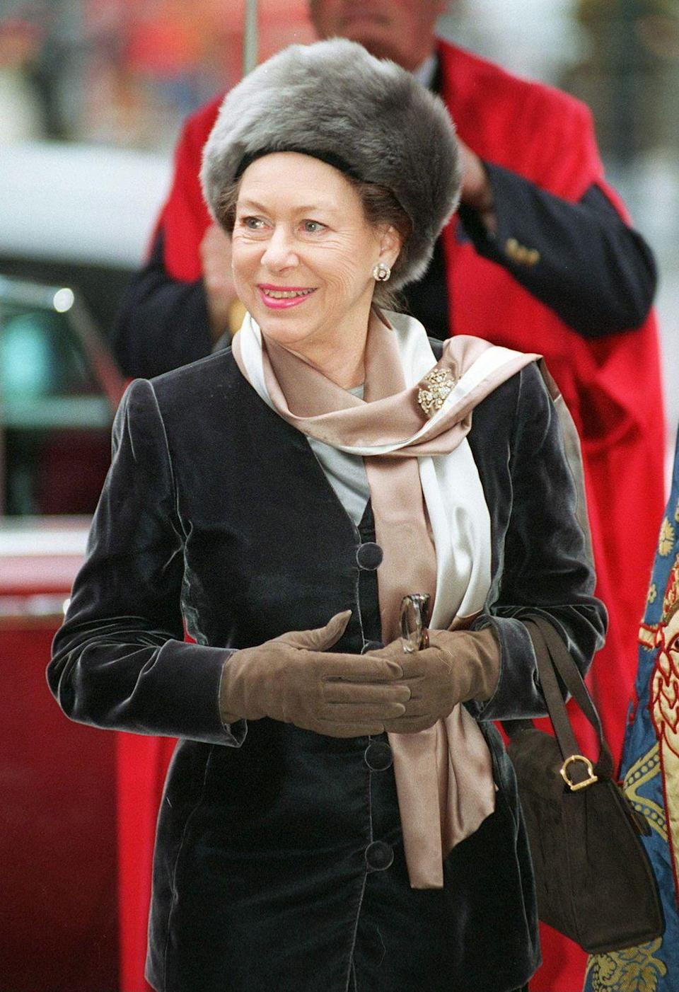 <p>Princess Margaret arrived for a service at Westminster Abbey to celebrate the 50th anniversary of the Founding of the National Association of Almshouses, a charity that helps provide housing to people.</p>
