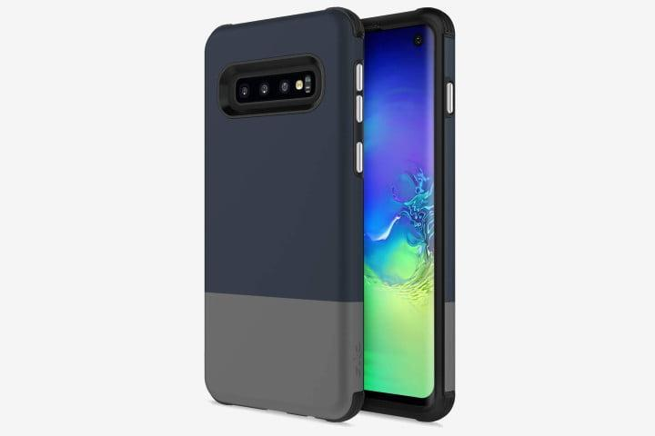 Photo shows a Samsung Galaxy S10 phone with a Zizo Division Series case in blue/gray