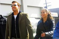"""<p>The two took a stroll in Beverly Hills, CA, while filming the singer's music video for """"Jenny on the Block"""" in October 2002. </p>"""