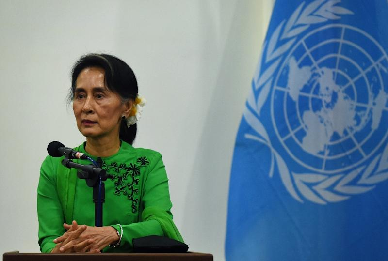 Myanmar leader Aung San Suu Kyi has faced international condemnation regarding the plight of the Rohingya, victims of what the UN views as a campaign of ethnic cleansing (AFP Photo/ROMEO GACAD)