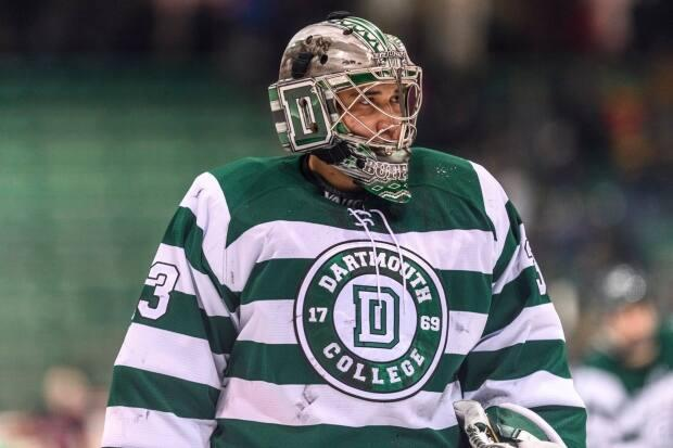 Devin Buffalo, a member of Samson Cree Nation in Alberta, played hockey at Dartmouth College. He now mentors young Indigenous athletes. (Dartmouth College Varsity Athletics - image credit)