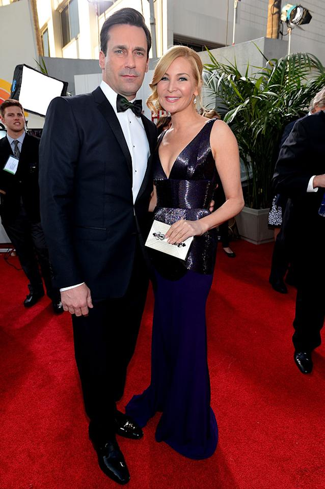 Jon Hamm and Jennifer Westfeldt arrive at the 70th Annual Golden Globe Awards at the Beverly Hilton in Beverly Hills, CA on January 13, 2013.