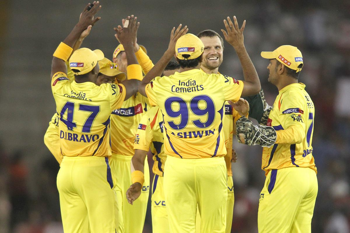 Chennai Super Kings celebrate Kings XI Punjab captain Adam Gilchrist's wicket during match 11 of of the Pepsi Indian Premier League between The Kings XI Punjab and the Chennai Superkings held at the PCA Stadium, Mohal, India  on the 10th April 2013..Photo by Shaun Roy-IPL-SPORTZPICS  ..Use of this image is subject to the terms and conditions as outlined by the BCCI. These terms can be found by following this link:..https://ec.yimg.com/ec?url=http%3a%2f%2fwww.sportzpics.co.za%2fimage%2fI0000SoRagM2cIEc&t=1490414229&sig=1h3DtZT01gYyayqPeG9hNA--~C