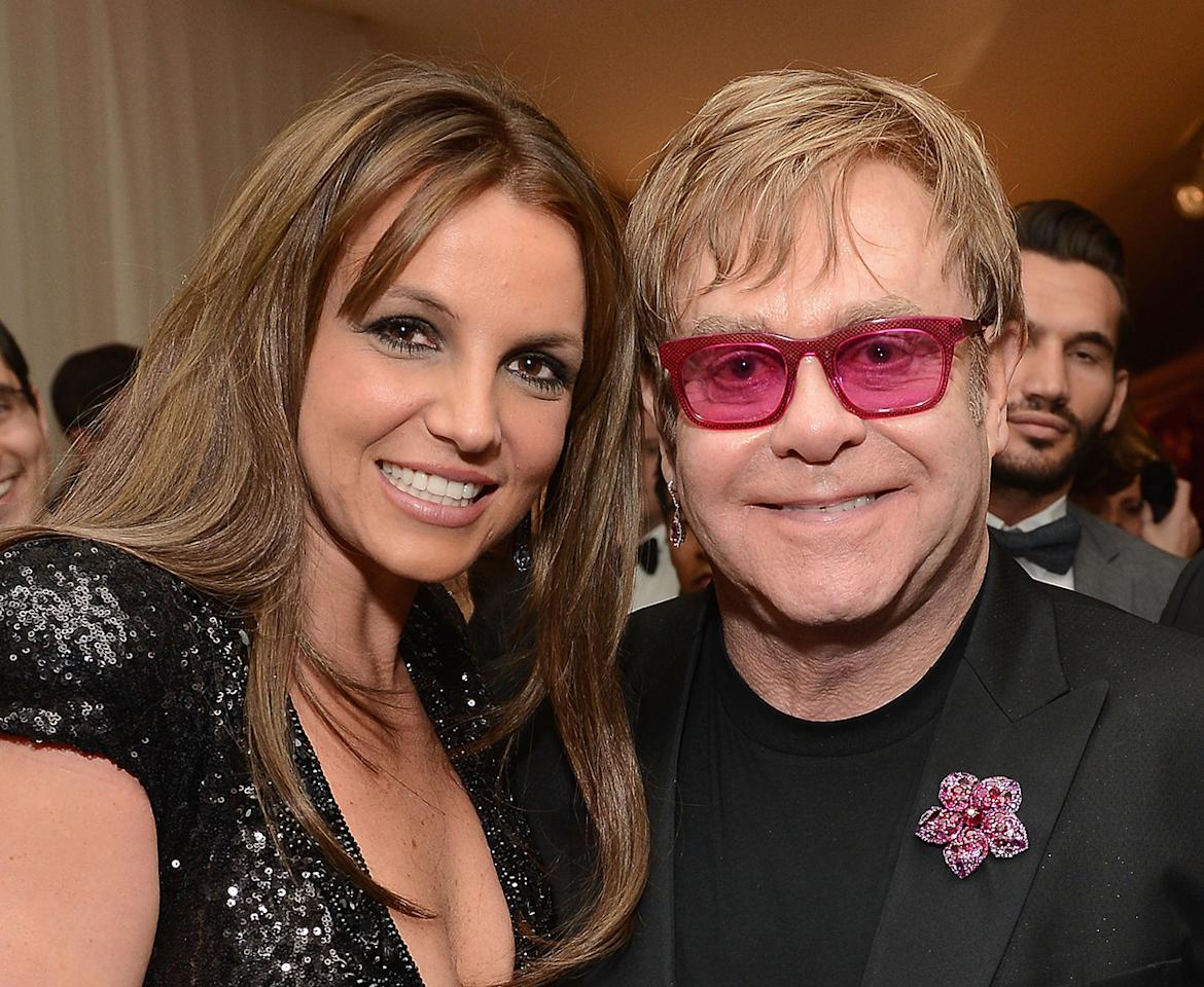 (L-R) Recording Artist Britney Spears and Sir Elton John attend the 21st Annual Elton John AIDS Foundation Academy Awards Viewing Party at Pacific Design Center on February 24, 2013 in West Hollywood, California.