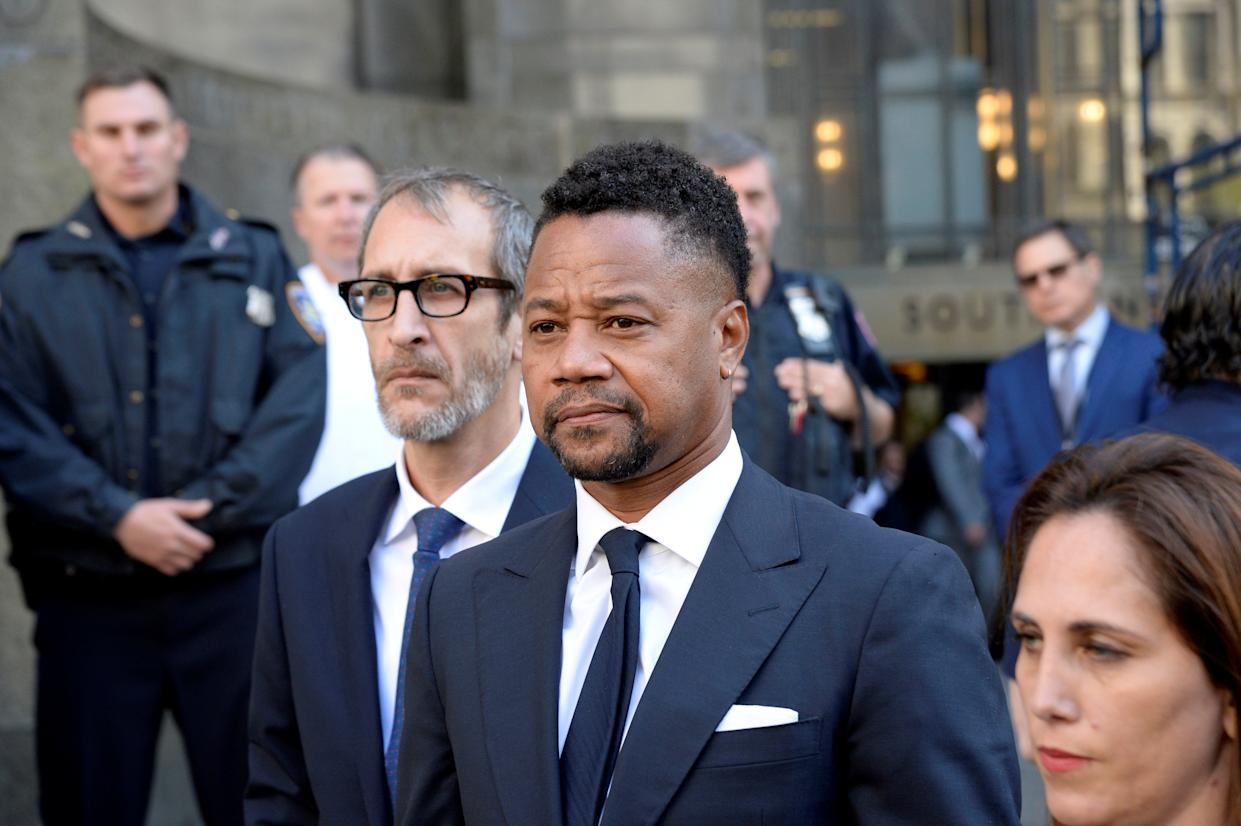 Actor Cuba Gooding Jr. leaves after his arraignment in New York State Supreme Court in the Manhattan borough of New York, U.S., October 15, 2019. REUTERS/Jefferson Siegel