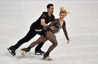 Madison Hubbell and Zachary Donohue of the USA perform during the Ice Dance - Rhythm Dance at the Figure Skating World Championships in Stockholm, Sweden, Friday, March 26, 2021. (AP Photo/Martin Meissner)