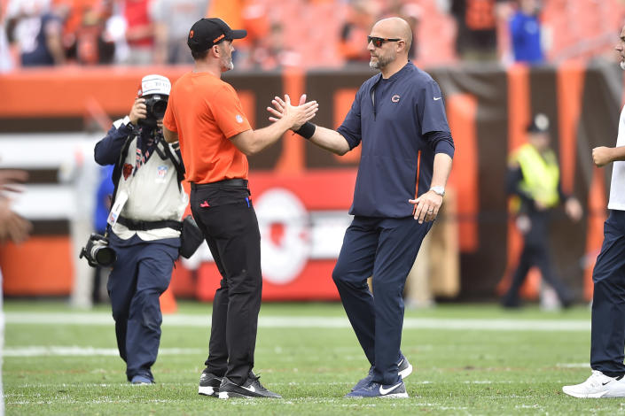 Cleveland Browns head coach Kevin Stefanski, left, shakes Chicago Bears head coach Matt Nagy's hand after the Browns defeated the Bears in an NFL football game, Sunday, Sept. 26, 2021, in Cleveland. (AP Photo/David Richard)