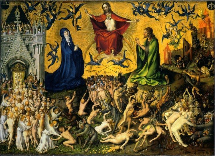 Jesus, Mary and St. John preside over the dead, some of which are admitted to the Kingdom of Heaven, others to eternal punishment.