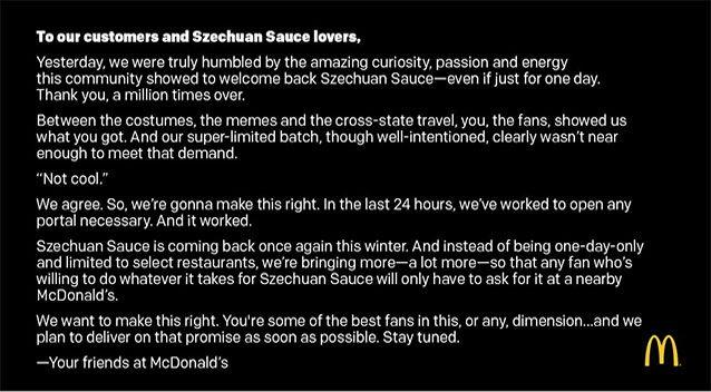 Macca's promises the coveted sauce will be in greater supply. Picture: McDonald's/Twitter