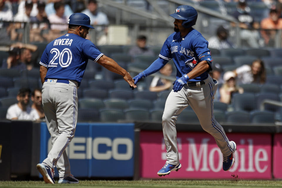 Marcus Semien and the Blue Jays are on a roll. (AP Photo/Adam Hunger)