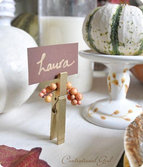 "<p>For a classier vibe, these simple clothespin place card holders from <a href=""https://centsationalstyle.com/2011/10/three-easy-fall-crafts-link-party/"" rel=""nofollow noopener"" target=""_blank"" data-ylk=""slk:Centsational Style's &quot;Three Easy Fall Crafts + Link Party&quot;"" class=""link rapid-noclick-resp"">Centsational Style's ""Three Easy Fall Crafts + Link Party""</a> blog post are a winner. Gold spray paint, faux berries, and some paper will do the trick.</p><p><a class=""link rapid-noclick-resp"" href=""https://go.redirectingat.com?id=74968X1596630&url=https%3A%2F%2Fwww.michaels.com%2Fcreatology-large-wood-clothespins%2F10206357.html&sref=https%3A%2F%2Fwww.delish.com%2Fholiday-recipes%2Fthanksgiving%2Fg33808794%2Fthanksgiving-decorations%2F"" rel=""nofollow noopener"" target=""_blank"" data-ylk=""slk:BUY NOW"">BUY NOW</a> <strong><em>Clothespins, $2.99</em></strong></p>"