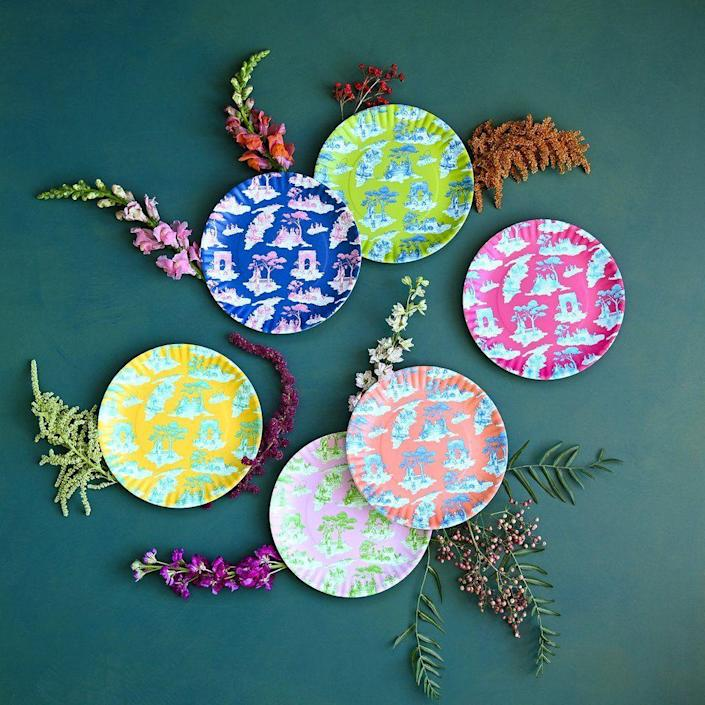 """<p><strong>$54.00</strong></p><p><a href=""""https://www.glitterville.com/collections/harlem-toile-de-jouy/products/harlem-toile-de-jouy-plate-set-of-6"""" rel=""""nofollow noopener"""" target=""""_blank"""" data-ylk=""""slk:Shop Now"""" class=""""link rapid-noclick-resp"""">Shop Now</a></p><p><a href=""""https://www.sheilabridges.com/"""" rel=""""nofollow noopener"""" target=""""_blank"""" data-ylk=""""slk:Sheila Bridges"""" class=""""link rapid-noclick-resp"""">Sheila Bridges</a>' iconic Harlem Toile pattern is now offered in a bright array of melamine plates for the most colorful of gatherings.</p>"""