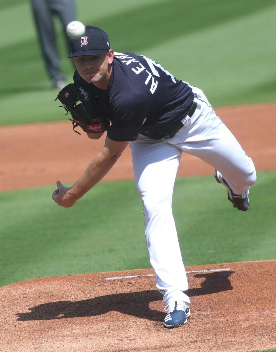 Detroit Tigers' Tyler Alexander pitches against the Phillies during Grapefruit League action Sunday, Feb. 28, 2021 in Lakeland, Fla.