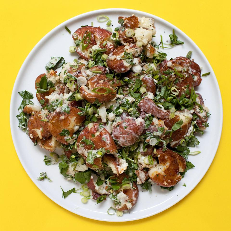 """This recipe was created by reader Kim Smithers in our Chef Watson potato salad challenge. <a href=""""https://www.bonappetit.com/recipe/smashed-potato-salad?mbid=synd_yahoo_rss"""" rel=""""nofollow noopener"""" target=""""_blank"""" data-ylk=""""slk:See recipe."""" class=""""link rapid-noclick-resp"""">See recipe.</a>"""