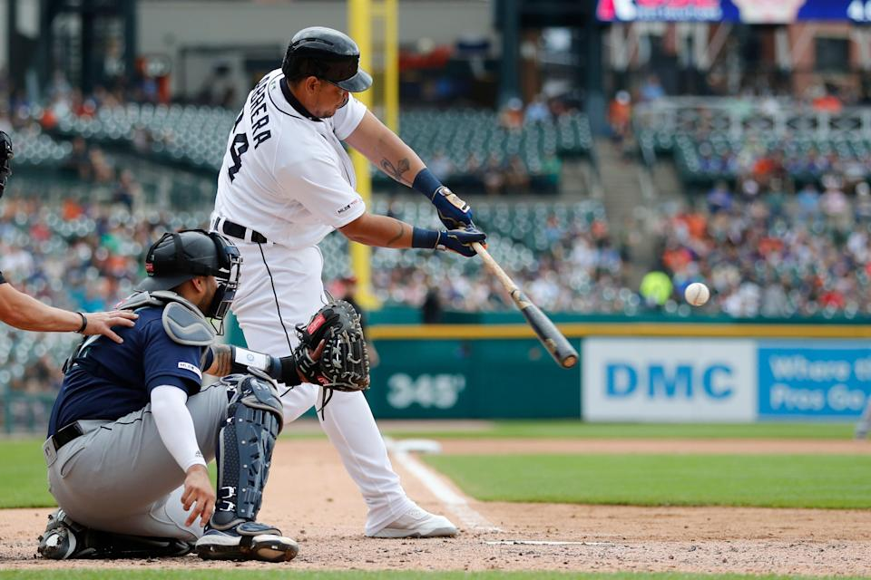 Tigers designated hitter Miguel Cabrera connects for a solo home run during the fourth inning on Thursday, Aug. 15, 2019, at Comerica Park.