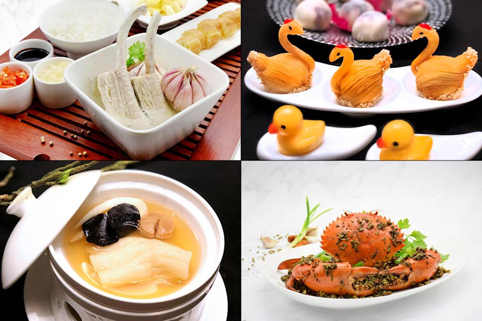 Dishes served at Orient Palace: (clockwise from top left) Dragon Rib Bak Kut Teh, Cantonese Specialty Dim Sum, Punggol Black & White Pepper Crab and Stewed Fish Maw with Dried Scallops & Bak Choy. (Photo: Orient Palace)