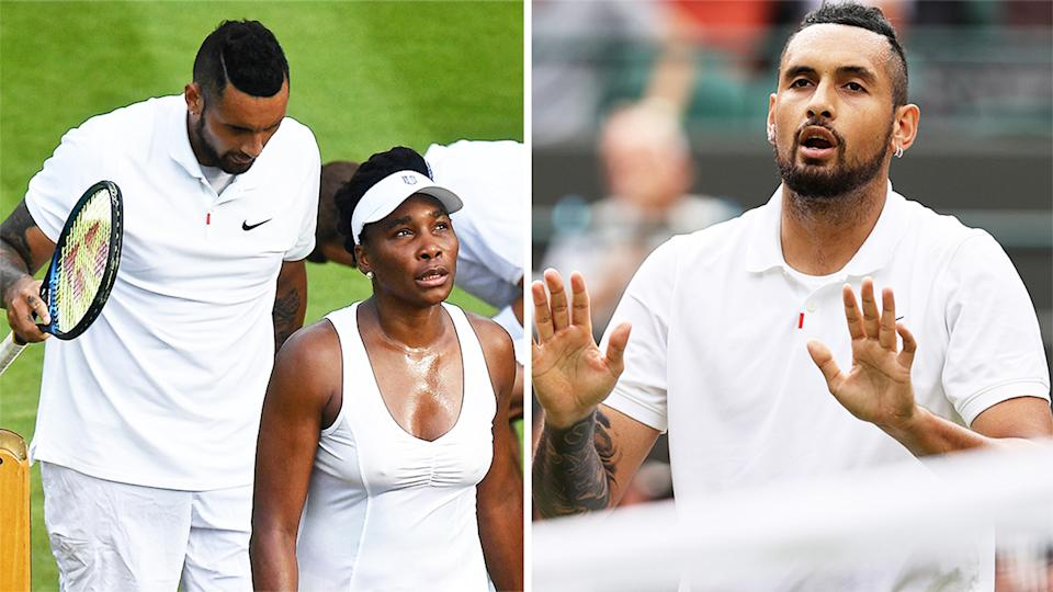 Nick Kyrgios (pictured right) during his mixed double's match with Venus Williams (pictured left) and (pictured right) apologising the crowd.