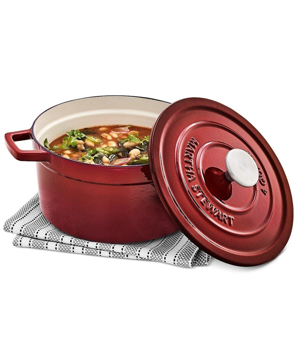 "Okay, so if you don't want to overspend on a Le Creuset Dutch oven, this lookalike just might be something you need for your menu. The cast iron is designed to heat things up evenly so whatever you're cooking actually cooks. <a href=""https://fave.co/3nOAVYn"" target=""_blank"" rel=""noopener noreferrer"">Originally $160, get it now for $50 at Macy's</a>."