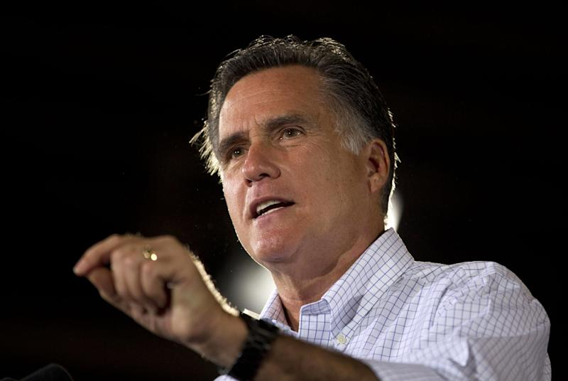 Republican presidential candidate, former Massachusetts Gov. Mitt Romney speaks during a campaign stop at LeClaire Manufacturing, Wednesday, Aug. 22, 2012, in Midland, Texas. (AP Photo/Evan Vucci)