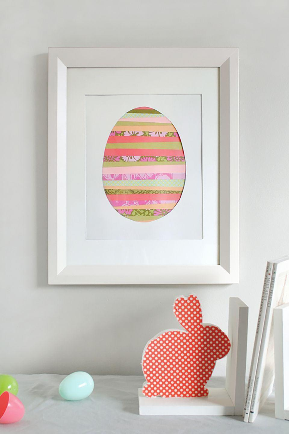 """<p>Let your little one arrange strips of colorful paper to create this beautiful, minimalistic Easter art for your home. </p><p><strong>Get the tutorial, created by <a href=""""http://mermagblog.com"""" rel=""""nofollow noopener"""" target=""""_blank"""" data-ylk=""""slk:Mer Mag"""" class=""""link rapid-noclick-resp"""">Mer Mag</a>, at <a href=""""http://www.minted.com/julep/2013/02/26/paper-strip-easter-egg-art/"""" rel=""""nofollow noopener"""" target=""""_blank"""" data-ylk=""""slk:Minted"""" class=""""link rapid-noclick-resp"""">Minted</a>. </strong></p>"""