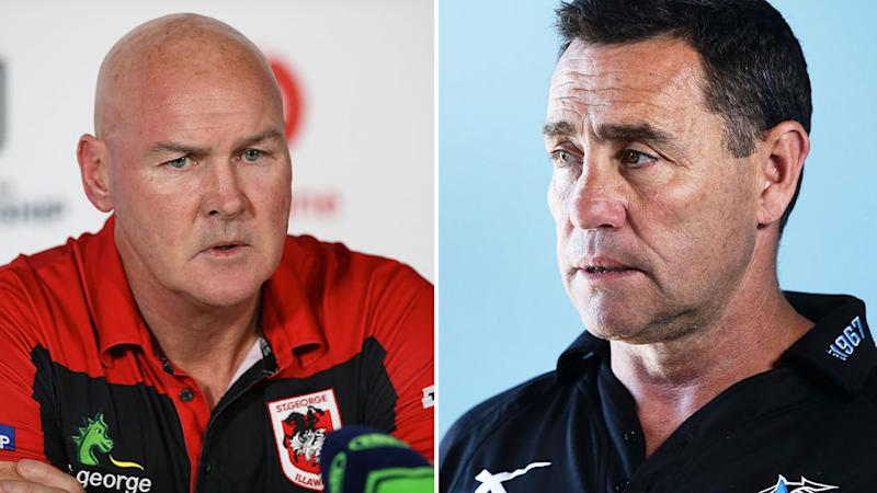 Pictured here, under-fire Dragons coach Paul McGregor and former Sharks coach Shane Flanagan.